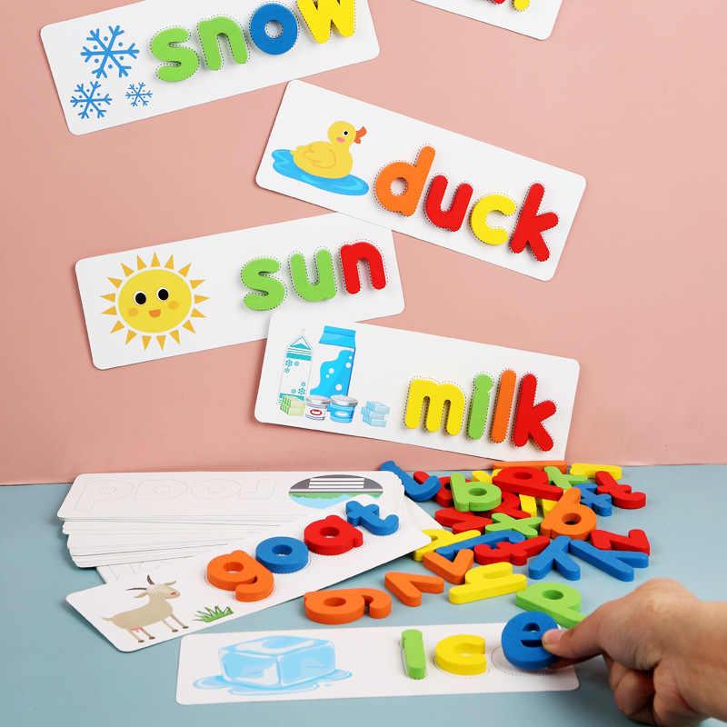 Juego de palabras Montessori Spell, juguetes de madera para aprendizaje temprano, rompecabezas de letras de alfabeto, juguete educativo para niños en preescolar