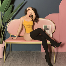 2019 Ins Style Yellow Letter Print Jumpsuit High Street Super Sexy Skinny Elastic Bodysuit