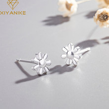 XIYANIKE 925 Sterling Silver Prevent Allergy Stud Earrings For Women New Fashion Sun flower Small Ear Hoops Wedding Jewelry(China)