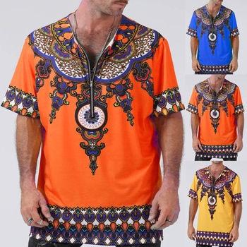 Mens African Clothing Dashiki Style Short Sleeve T Shirt Printing Tops Mexican Hippie Tribal T Shirts Tee Zipper