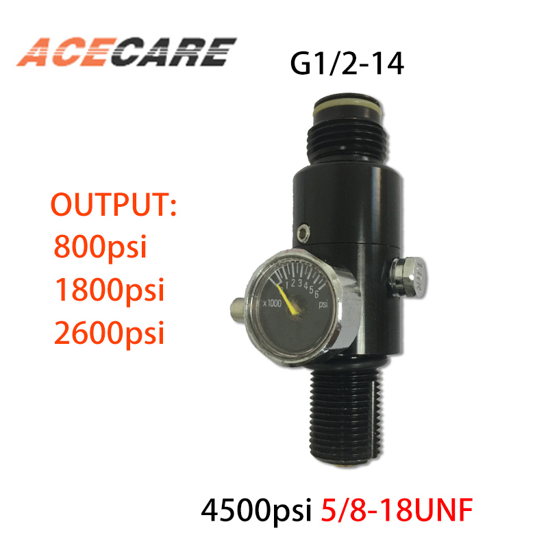 Ac961 Acecare Paintball Pcp Hpa 4500Psi Compressed Air Tank Regulator Output Pressure 800/1800/2000/2600Psi Tank 5/8