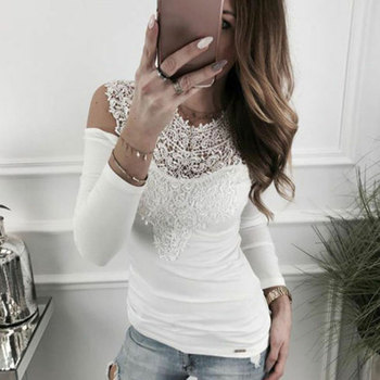 Elegant Office Lady Spring Summer Women Sexy Lace Long Sleeve Hollow Shirts Leotard Tops Casual Solid Flower Blouse Pullovers 4