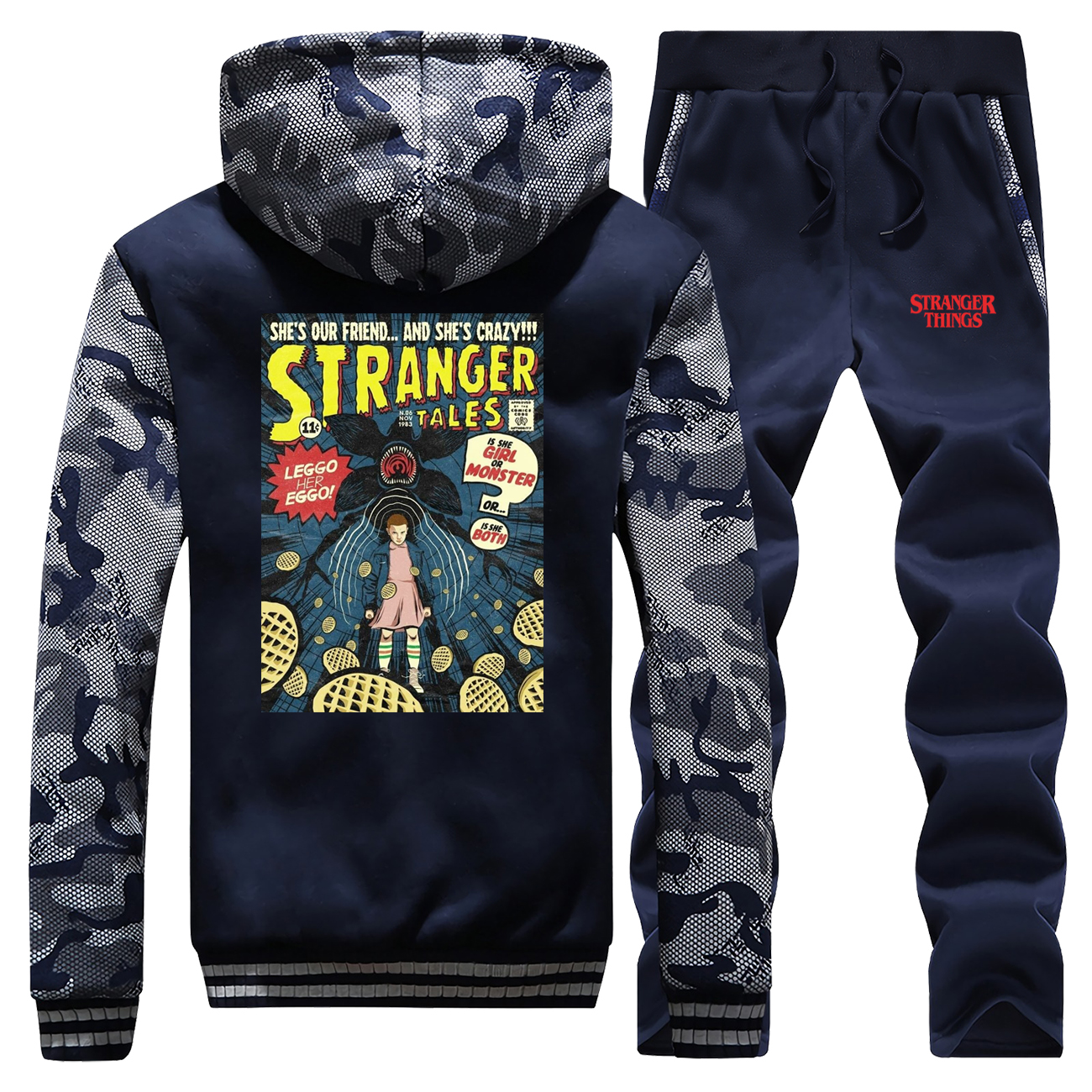 Stranger Things Winter Hot Sale 2019 Camouflage Hoodie Hip Hop Casual Coat Thick Suit Warm Jackets Sportswear+Pants 2Piece Set
