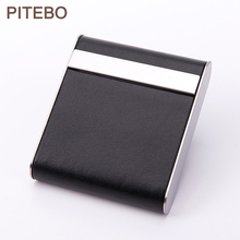 PITEBO Luxury PU leather business card holder, cigarette case with magnetic buckle pocket, stainless steel credit card ID box