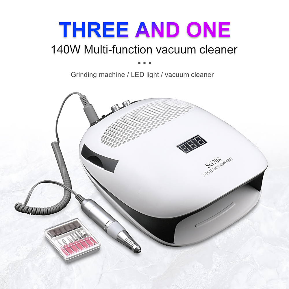 140W 3 In 1 Nail Art Equipment 80W UV LED Nail Dryer & 20W Electric Nail Drill And 40W High Power Powerful Dust Manicure Tools