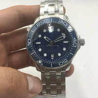 007 Blue Dial Automatic Mechanical Watch Men Ceramic Bezel Date Waterproof Luminous Stainless Steel solid Bangle 43mm Watch AAA