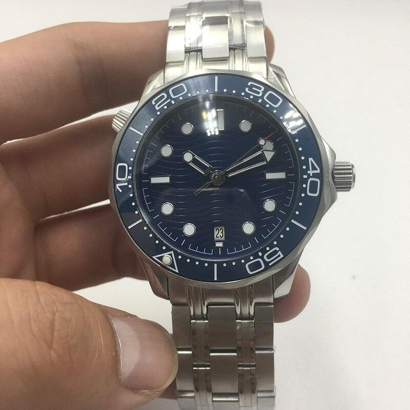 007 cadran bleu automatique mécanique montre hommes céramique lunette Date étanche lumineux acier inoxydable solide bracelet 43mm montre AAA
