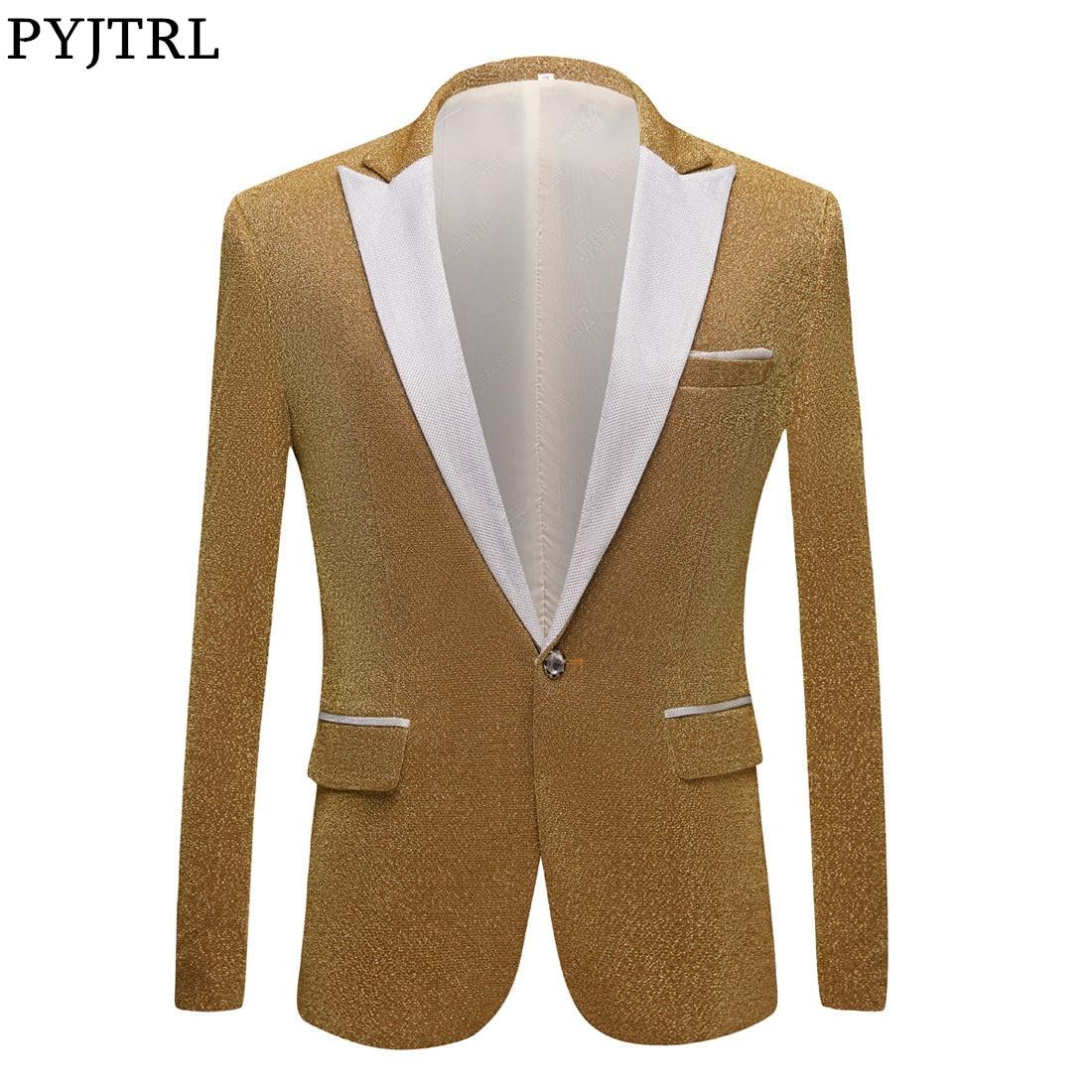 PYJTRL Men's Fashion Shiny Purple Gold Red Black Silver Gray Suit Jacket Wedding Groom Prom Singers Blazers Men Blazer Slim Fit