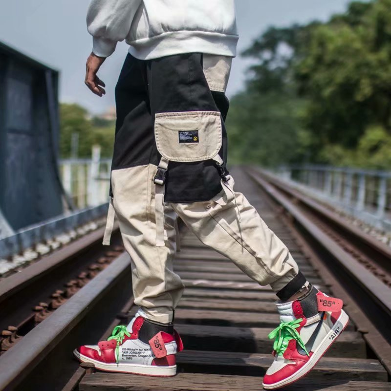 Hip Hop Men Multi-pocket Elastic Waist Design Male Streetwear Punk Casual Trousers Jogger  Pant