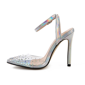 Image 3 - Kcenid Fashion rhinestone PVC transparent shoes stilettos high heels sandals women pointed toe party silver party wedding shoes