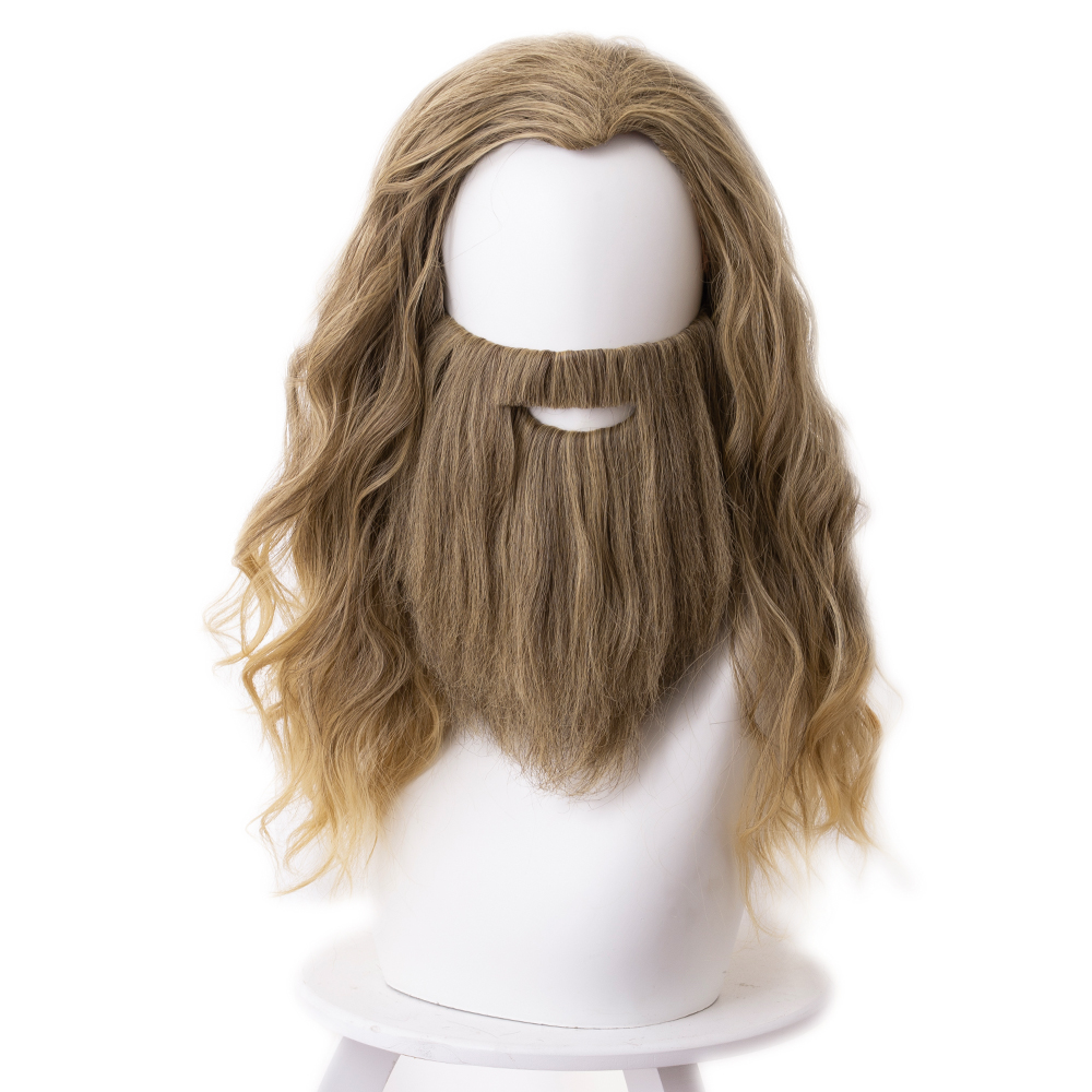 Us 18 45 10 Off Avengers 4 Endgame Fat Thor Cosplay Wig Hair Thor Curly Hair Wig Beard Whisker Halloween Carnival Wigs On Aliexpress