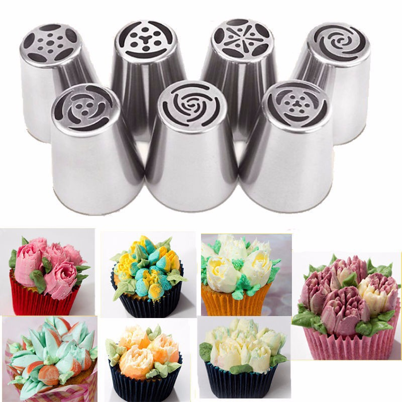 7PCS Cream Nozzle Stainles Steel Rose Tulip Flower DIY Cake Cupcake Decor Tool Icing Piping Tips Kitchen Accessory Baking Supply