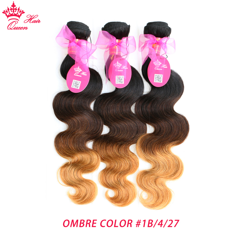Tissage en lot Body Wave brésilien naturel Remy-Queen Hair | Cheveux humains, couleur Ombre, # 1B/4/27, 3 tons, promotion