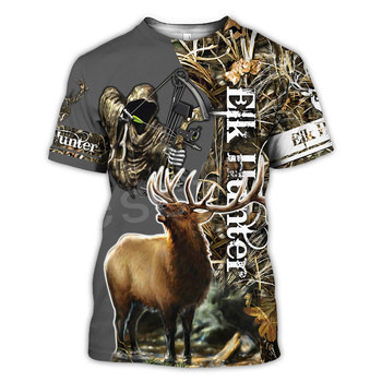 Tessffel Animal Bow Deer Hunter Hunting Camo New Fashion Harajuku Unisex 3DPrint Summer Short Sleeve Streetwear T-shirts A-3 1