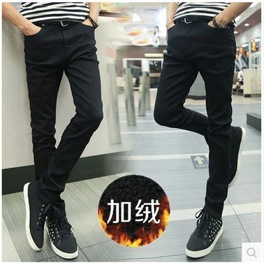 Autumn & Winter Men Brushed And Thick Jeans Young MEN'S Korean-style Skinny Slim Fit Warm Cowboy Blue Shorts