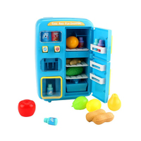Double door Refrigerator Birthday Gifts Safe Small Music Play House Kids Colorful Light Toy Set Electric Simulated Educational