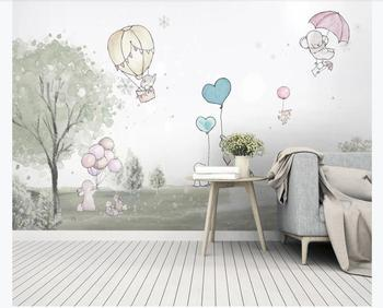 XUE SU Wall covering custom wallpaper cute cartoon balloon bear elephant animal children room background wall