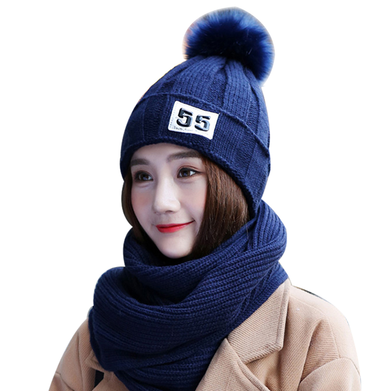 New Fashion Winter Hats For Women Knit Long Scarf Shawl Ladies Cute Pompom Beanies Thick Warm Cap And Scarf Accessories 2/Set