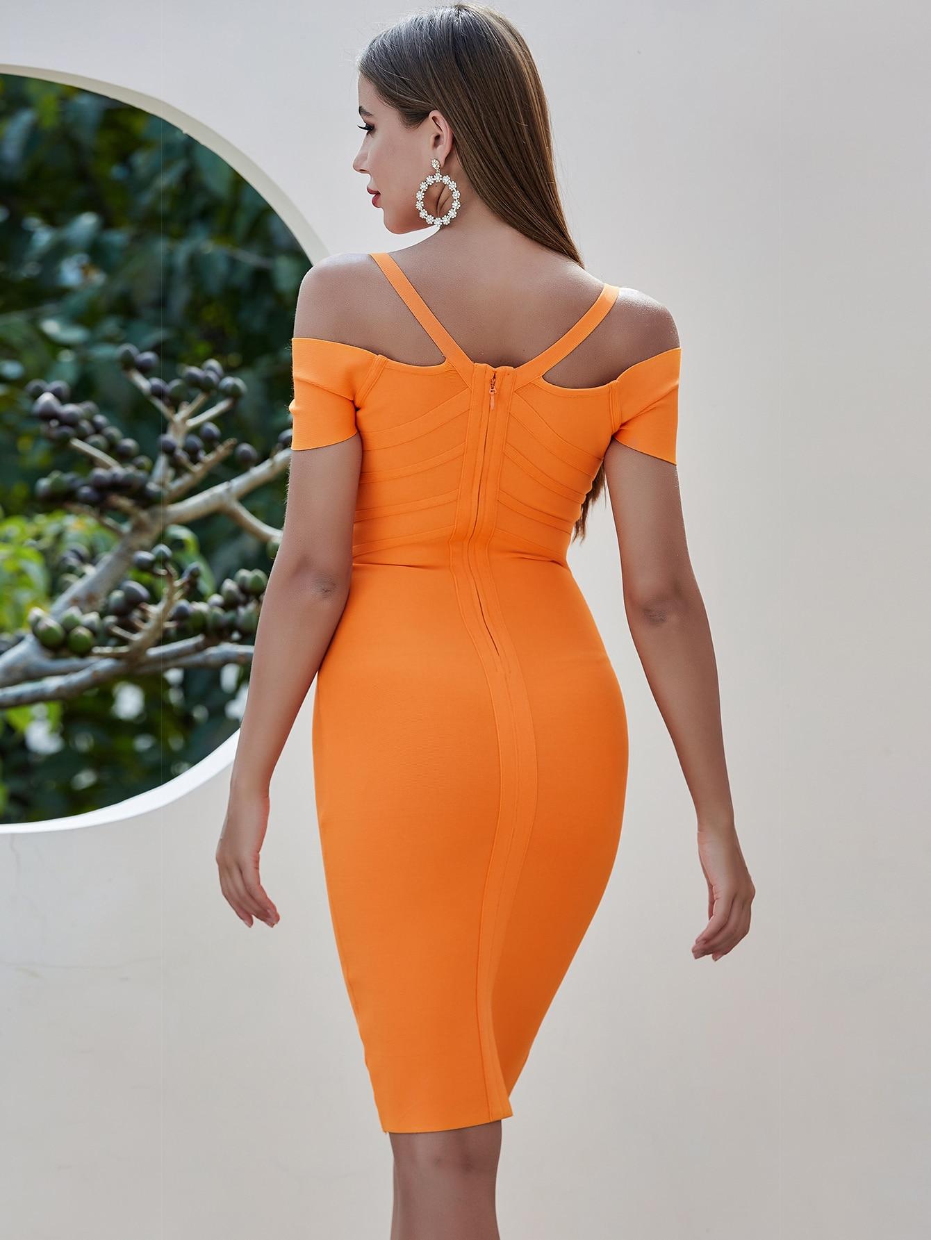 Orange Off Shoulder Bandage Bodycon Mini Dress