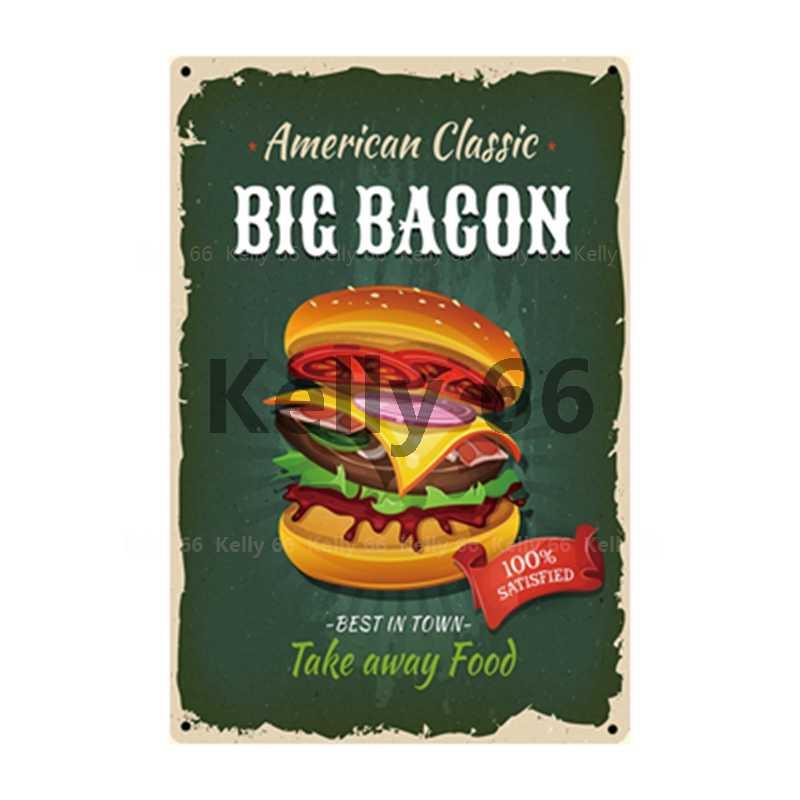 [[Kelly66]] Thực Phẩm Thực Đơn Burger Bánh Rán Makise Kem Tốt Nhất Trong Thị Trấn Kim Loại Tín Hiệu Trang Trí Thanh Nghệ Thuật Treo Tường tranh Ghép 20*30 Cm Kích Thước Lạt-05