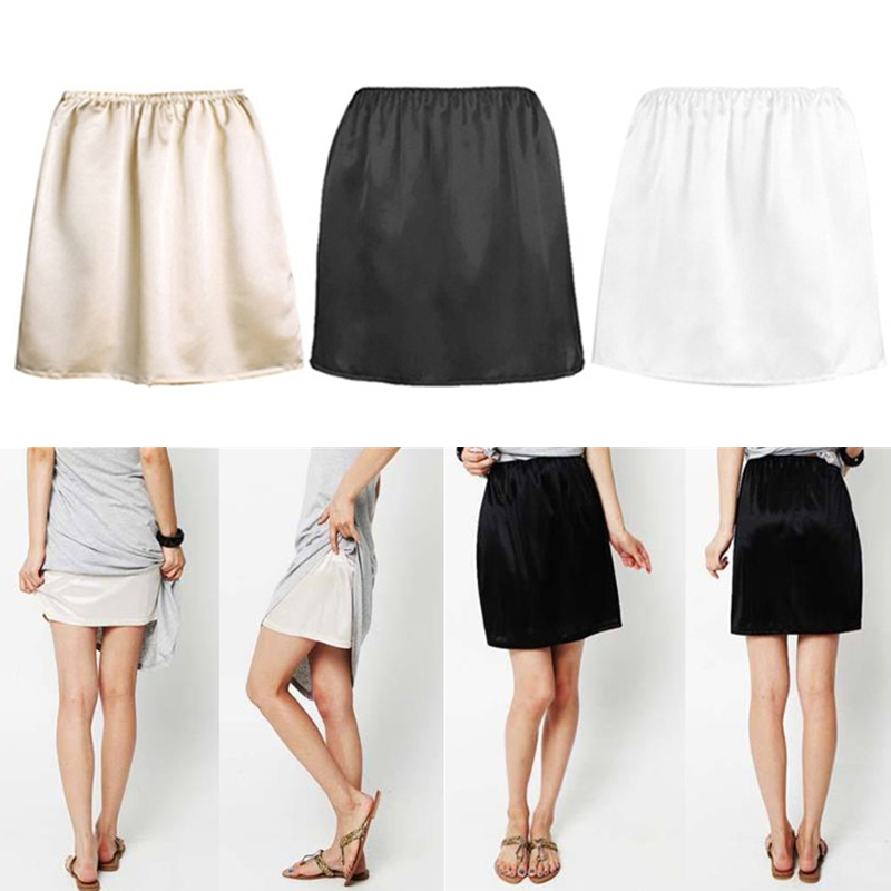 Women Elastic Waist Half Slip Petticoat Skirts Underskirt Lady Crinoline Milk Silk White Lace Commuter Office Ladies Skirt
