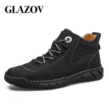 Męskie buty nowe wysokiej jakości skórzane męskie buty do kostki 2020 męskie oddychające buty jesienne odkryte antypoślizgowe męskie buty motocyklowe tanie i dobre opinie GLAZOV CN (pochodzenie) Prawdziwej skóry Skóra bydlęca ANKLE Stałe Dla dorosłych RUBBER Okrągły nosek Wiosna jesień