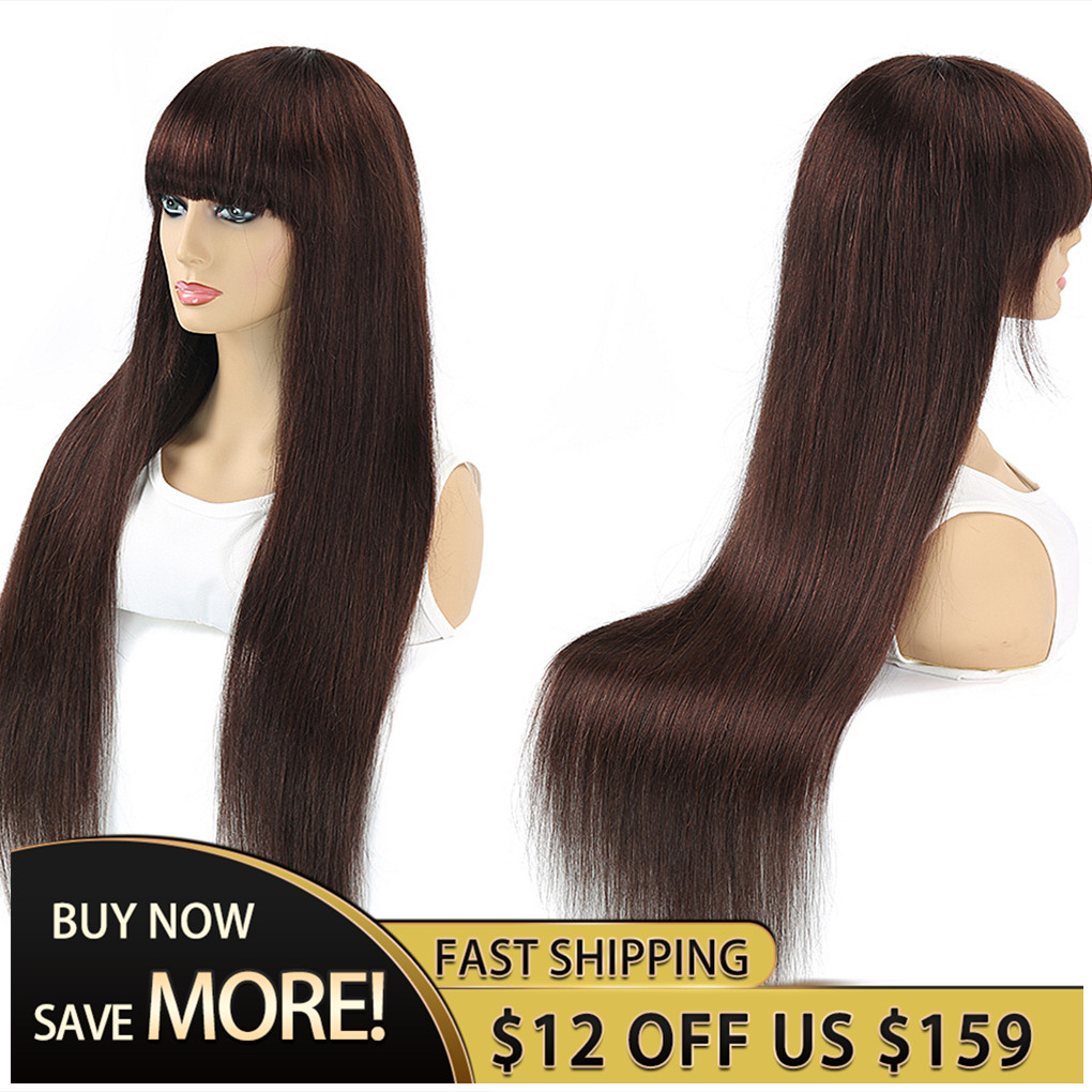 Royal Impresseion 2# Straight Full Machine Made Wigs With Bangs Good Cheap Human Hair Wigs Rich Colors To Choose No Lace Wigs