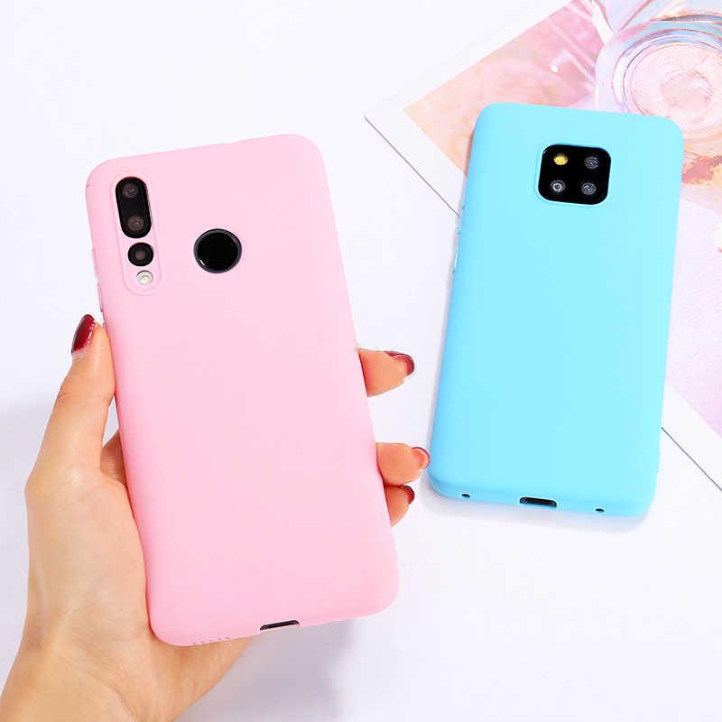 สี Candy โทรศัพท์เคสสำหรับ Huawei Mate 10 P30 Pro P20 Lite Pro P10 P8 P9 Lite 2017 ของแข็งสีซิลิโคนกรณี TPU Cover