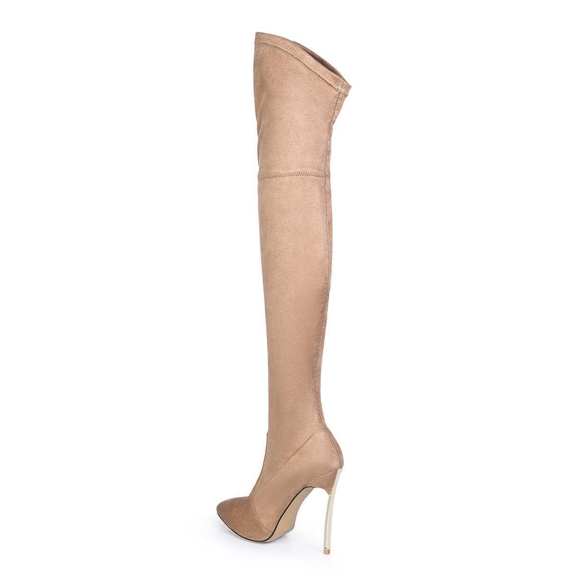 Rumbidzo ผู้หญิงฤดูใบไม้ร่วงฤดูหนาว Slim ต้นขาสูงรองเท้ายืด Faux Suede กว่าเข่าบู๊ทส์รองเท้าส้นสูงขนาด 43