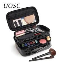 UOSC Women PU Makeup Bag Double Layer Waterproof Toilettry C