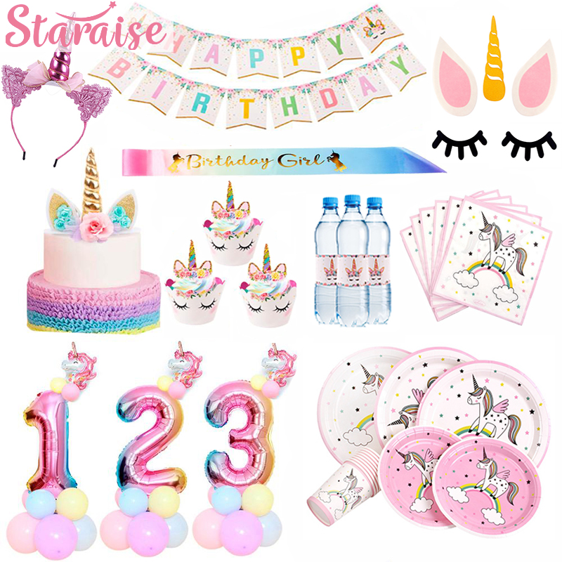 Female Birthday Party Girls Tableware Pink Silver Decorations Napkin Plates
