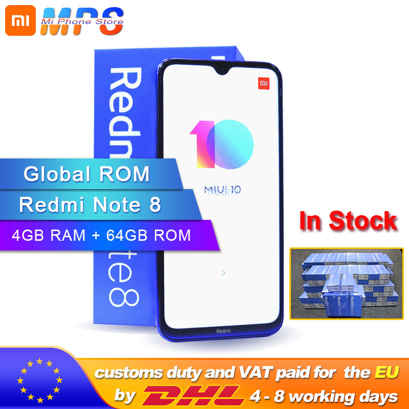 "Global ROM Xiaomi Redmi Note 8 64GB 4GB Smartphone Snapdragon  665 Octa Core  6.3"" 48MP  Rear Camera 4000mAh Support 18W Phone"