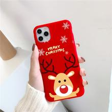 Merry Christmas Cartoon Elk Case For iPhone 12 12pro 11 Pro Xs MAX X XR Phone Case For iPhone 7 8 6 S Plus 5 SE 2020 Soft Cover