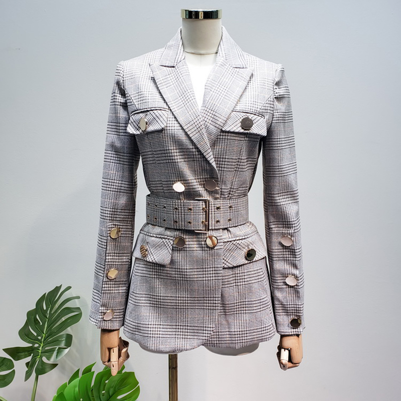 HIGH QUALITY New Fashion 2019 Designer Blazer Women's Lacing Belt Double Breasted Plaid Blazer Jacket