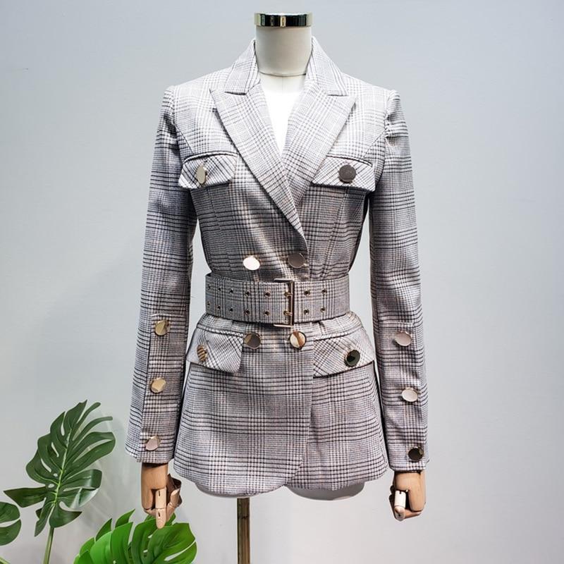 HIGH QUALITY New Fashion 2020 Designer Blazer Women's Lacing Belt Double Breasted Plaid Blazer Jacket