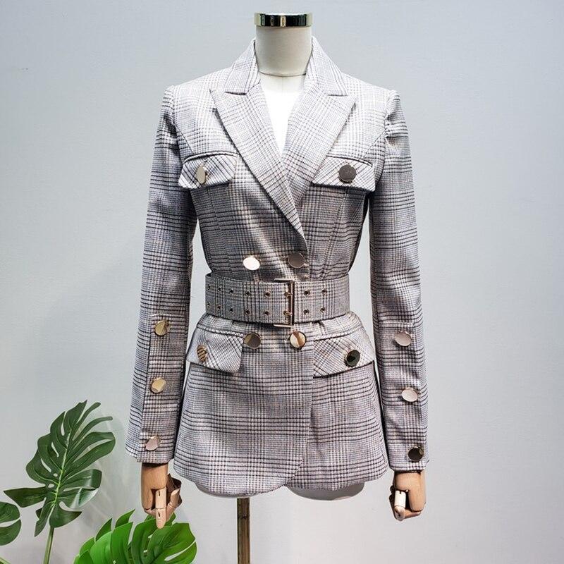 HOHE QUALITÄT Neue Mode 2019 Designer Blazer frauen Schnürung Gürtel Zweireiher Plaid Blazer Jacke
