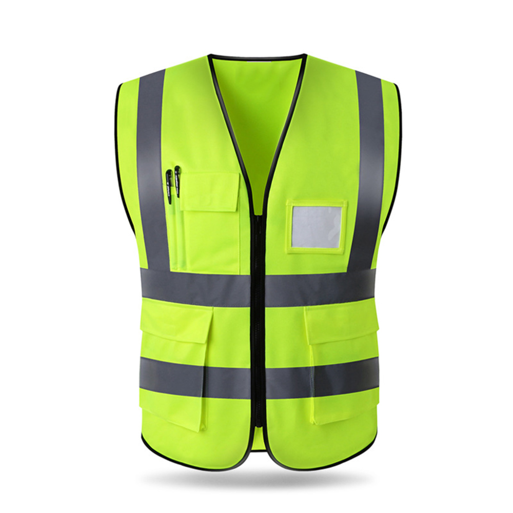 High Visibility Reflective Vest Safety Cloth Warning Waistcoat Fluorescent Workwear With Pocket Motorcycle Jacket Clothing