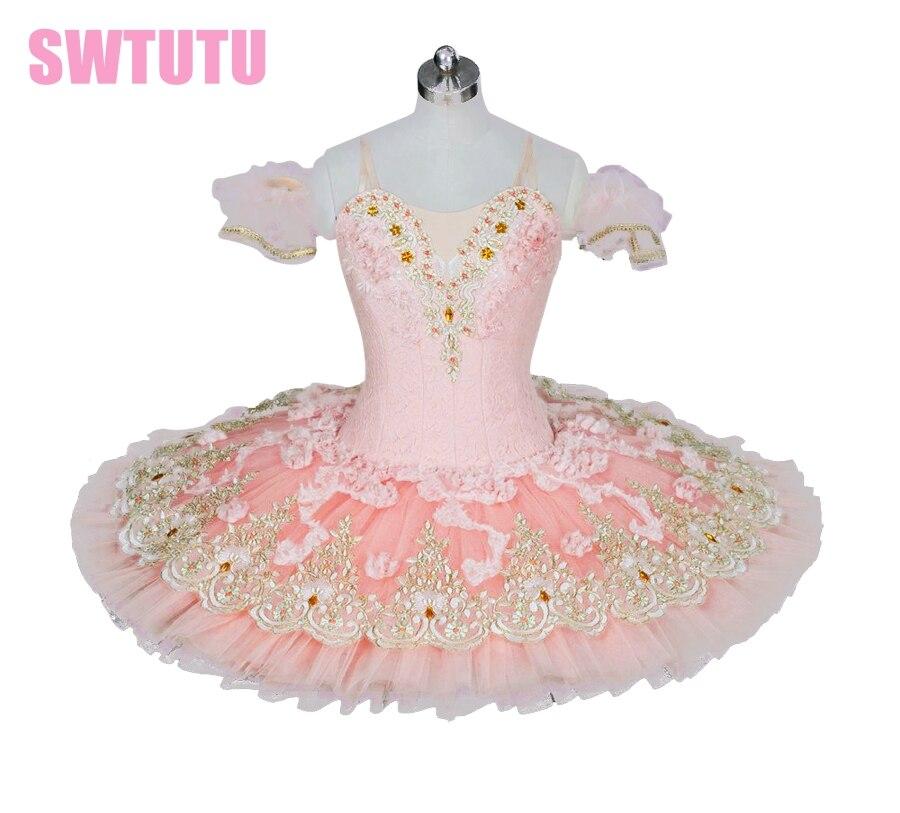 light pink peach professional ballet Tutu adult classical tutu with flowers pancake paltterBT9028