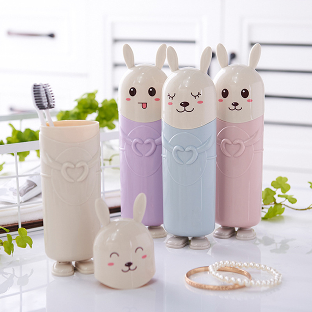 Cute Rabbit Portable Toothbrush Toothpaste Protect Holder Travel Organizer Storage Box Tooth Brush Container Toothbrush Holder