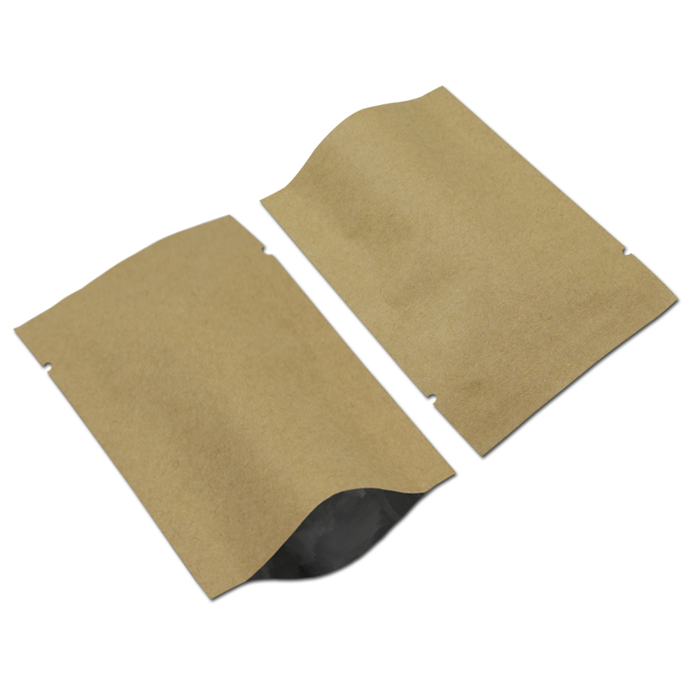 Inner Aluminum Foil Outer Kraft Paper Package Bag Open Top Heat Seal Vacuum Pack Pouches for Kitchen Coffee Powder Spice Storage
