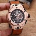 Luxe Merk Nieuwe Mannen Rose Goud Bruin Rood Zwart Lederen Automatische Mechanische Saffier Datum Horloges Glas Terug Waterdicht AAA +
