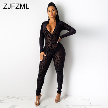 Mesh Flocking Leopard See Through Jumpsuit Women Deep V Neck Full Sleeve Fitness Romper Vintage Zipper Up One Piece Club Overall
