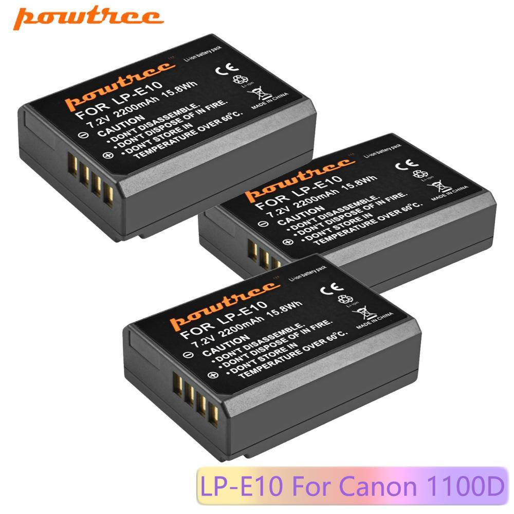Powtree 2200mAh LP LP-E10 E10 LPE10 Bateria Para Câmera Digital Canon 1100D 1200D 1300D Rebel T3 T5 BEIJO X50 X70 Bateria