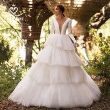 Tule vestido de baile Vestido de Casamento de luxo Swanskirt I124 Manga Comprida Sem Costas vestido de Noiva personalizado Plus Size vestido de noiva