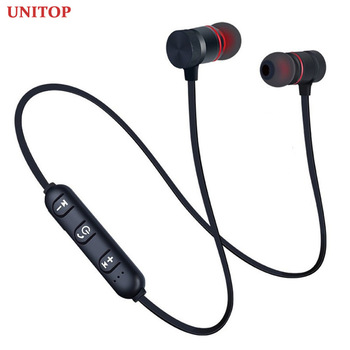 UNITOP Wireless Bluetooth Headphones Sports Neckband Magnetic  earphones Stereo Earbuds Music Metal Headset With Mic For Xiaomi wireless sports music headphones magnetic wireless bluetooth headset phone neckband sports earbud headset with microphone