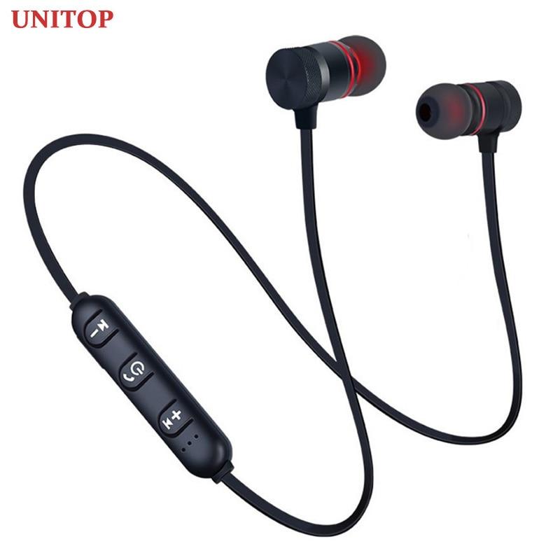 Unitop sem fio bluetooth fones de ouvido esportes neckband magnético fones estéreo música metal fone com microfone para xiaomi