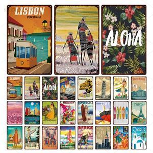Krajobraz miejski Retro metalowy znak blaszany meksyk hawaje tablica metalowa dekoracja ścienna do sklepu dom sklep metalowy obrazek ozdobny talerz