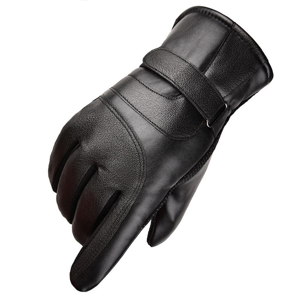 Уличные зимние велосипедные утолщенные теплые сенсорный экран для взрослых Пара спортивных лыжные спортивные перчатки - Цвет: leather black