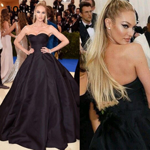 LORIE Black Satin Evening Gowns with Sleeveless Backless Lace-up Celebrity Dresses Plus Size Custom Made Formal Party