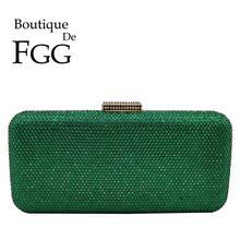 Boutique De FGG Emerald Green Women Crystal Clutch Purses Evening Bags Formal Pa